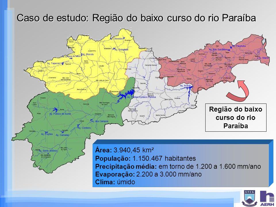 Caso de estudo: Região do baixo curso do rio Paraíba Região do baixo curso do rio Paraíba Área: 3.940,45 km² População: 1.150.467 habitantes Precipita