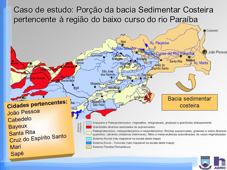 Caso de estudo: Porção da bacia Sedimentar Costeira pertencente à região do baixo curso do rio Paraíba Cidades pertencentes: João Pessoa Cabedelo Baye