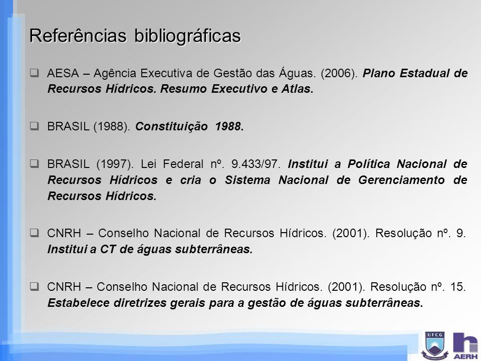 Referências bibliográficas AESA – Agência Executiva de Gestão das Águas. (2006). Plano Estadual de Recursos Hídricos. Resumo Executivo e Atlas. BRASIL