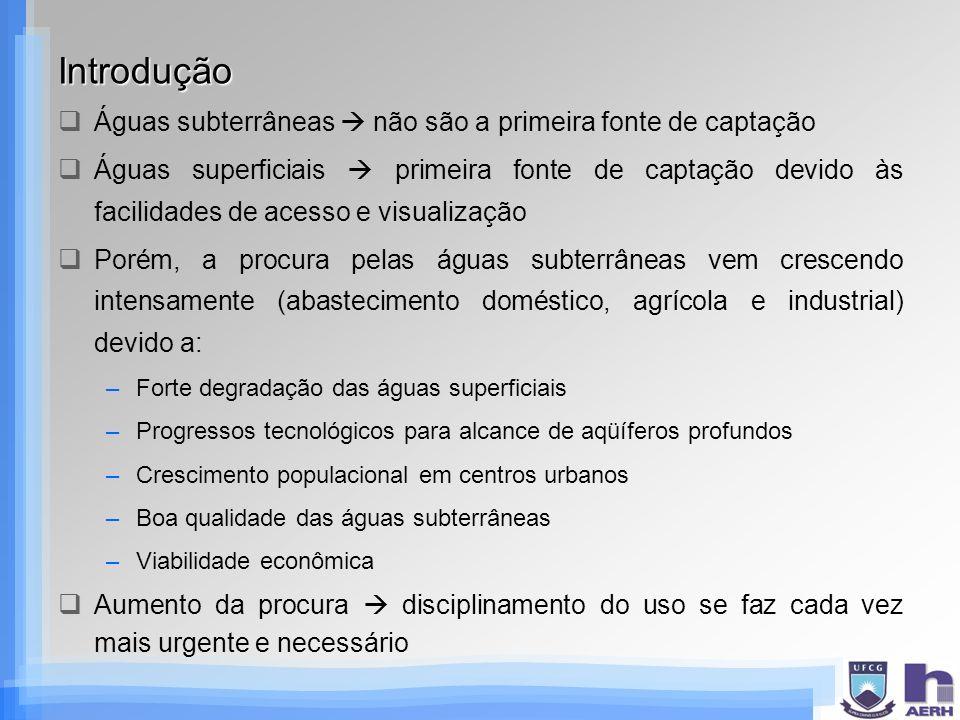 Introdução Águas subterrâneas não são a primeira fonte de captação Águas superficiais primeira fonte de captação devido às facilidades de acesso e vis