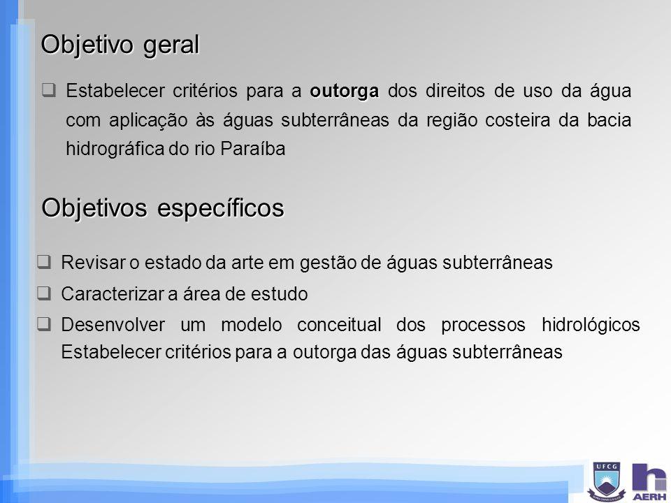 Resultados esperados Conhecimento dos processos hidrogeológicos da bacia sedimentar costeira estudada (modelo hidrogeológico conceitual) Avanços na pesquisa em gestão de águas subterrâneas Estabelecimento de critérios para a outorga de direito de uso das águas subterrâneas