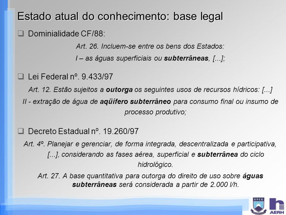 Estado atual do conhecimento: base legal Dominialidade CF/88: Art. 26. Incluem-se entre os bens dos Estados: I – as águas superficiais ou subterrâneas