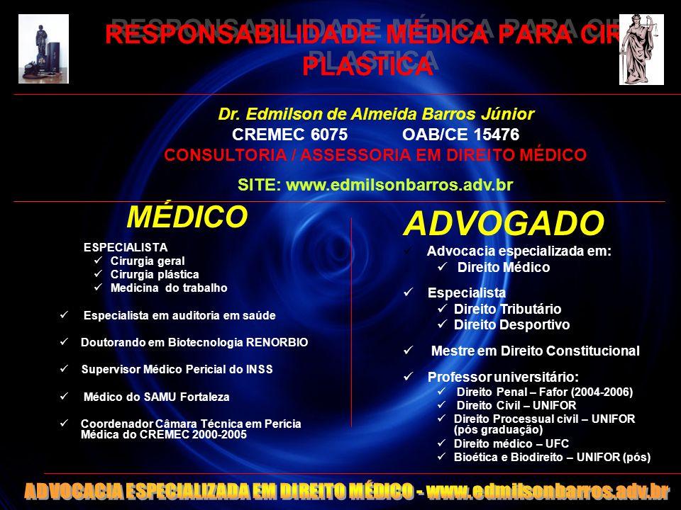 RESPONSABILIDADE MÉDICA PARA CIR. PLASTICA MÉDICO ESPECIALISTA Cirurgia geral Cirurgia plástica Medicina do trabalho Especialista em auditoria em saúd