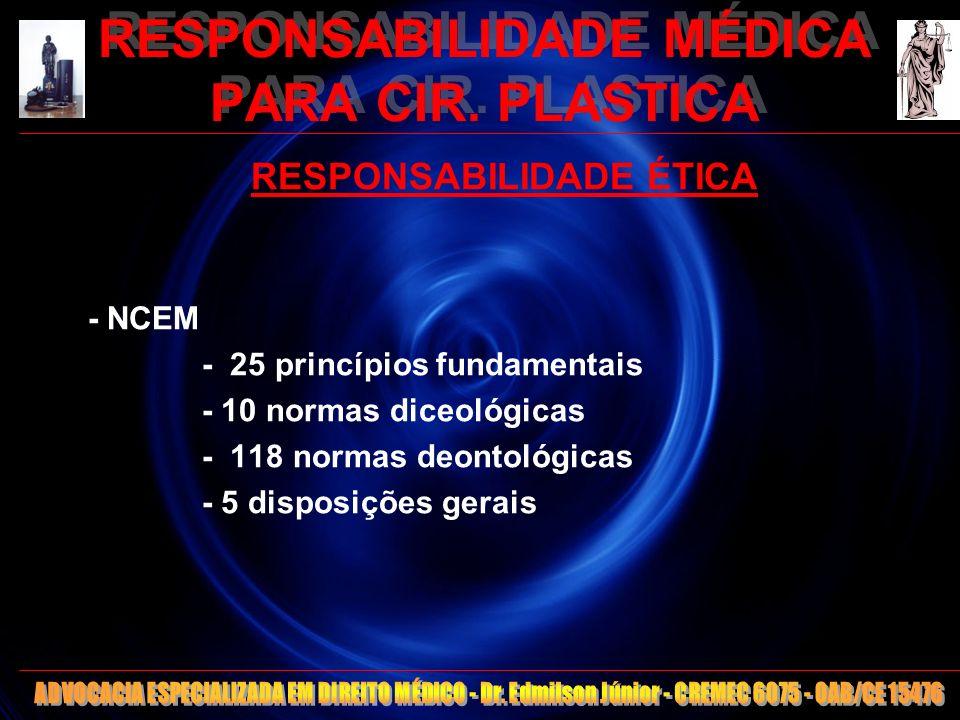 10 RESPONSABILIDADE MÉDICA PARA CIR. PLASTICA RESPONSABILIDADE ÉTICA - NCEM - 25 princípios fundamentais - 10 normas diceológicas - 118 normas deontol