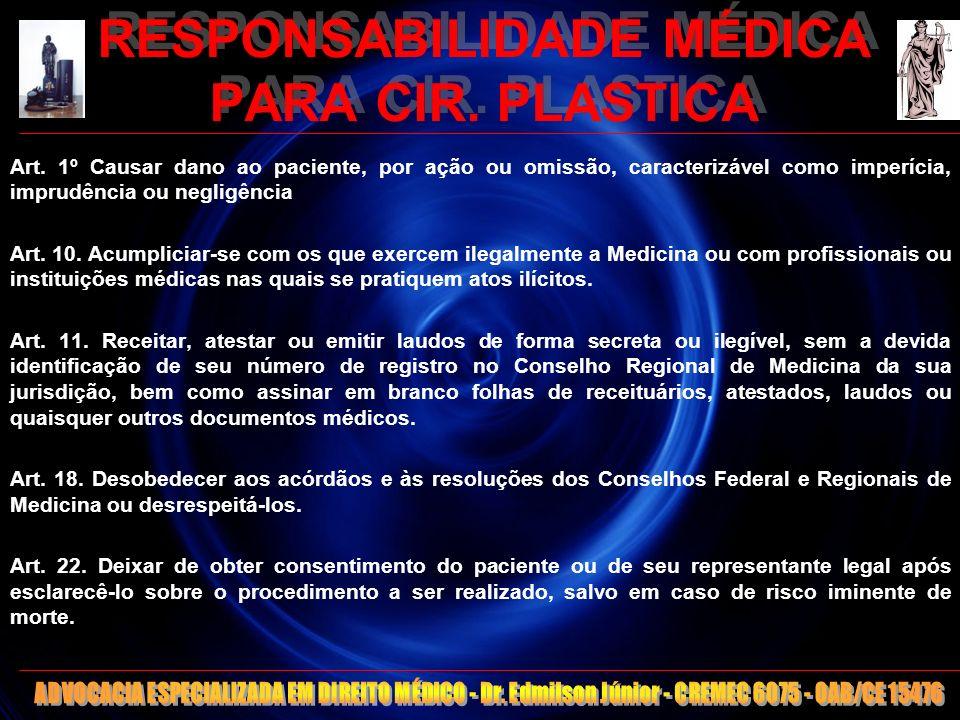 11 RESPONSABILIDADE MÉDICA PARA CIR. PLASTICA Art. 1º Causar dano ao paciente, por ação ou omissão, caracterizável como imperícia, imprudência ou negl