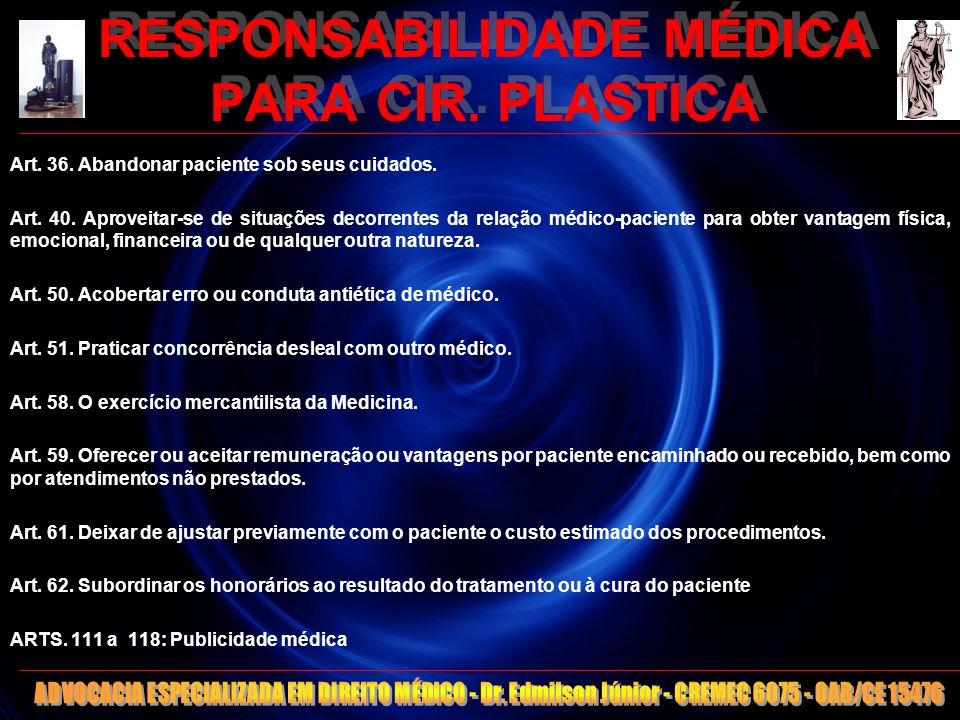 12 RESPONSABILIDADE MÉDICA PARA CIR. PLASTICA Art. 36. Abandonar paciente sob seus cuidados. Art. 40. Aproveitar-se de situações decorrentes da relaçã