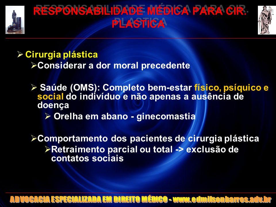 RESPONSABILIDADE MÉDICA PARA CIR. PLASTICA Cirurgia plástica Considerar a dor moral precedente Saúde (OMS): Completo bem-estar físico, psíquico e soci