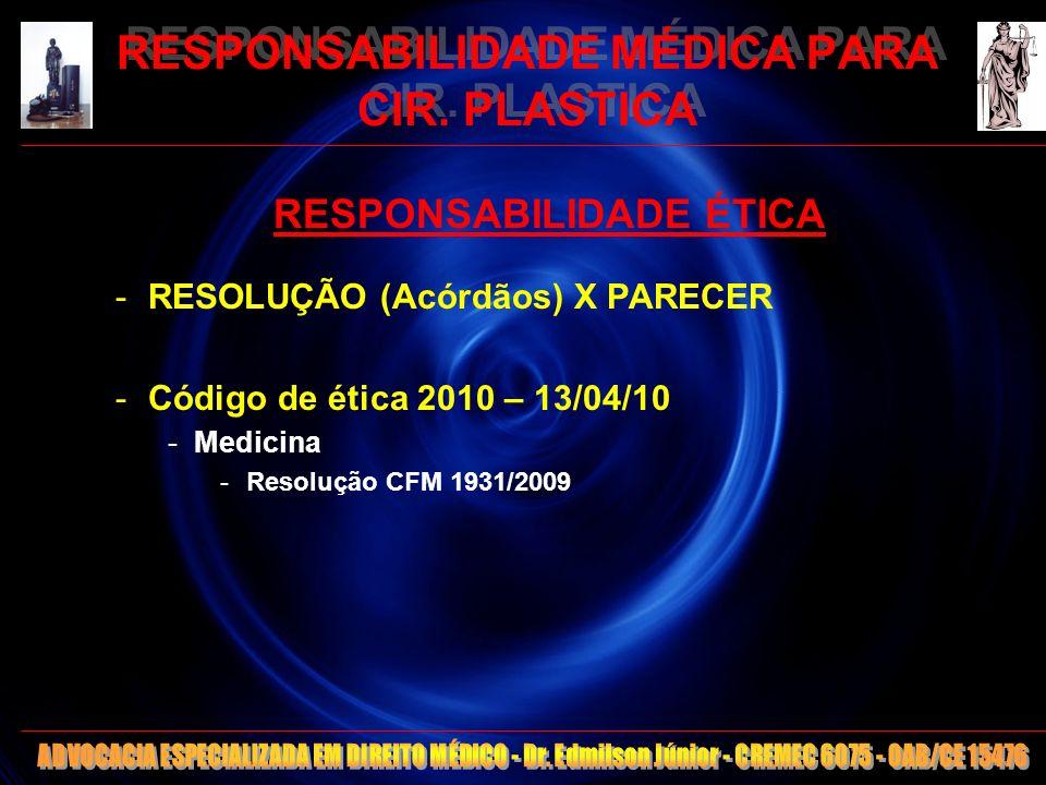 9 RESPONSABILIDADE MÉDICA PARA CIR. PLASTICA RESPONSABILIDADE ÉTICA -RESOLUÇÃO (Acórdãos) X PARECER -Código de ética 2010 – 13/04/10 -Medicina -Resolu