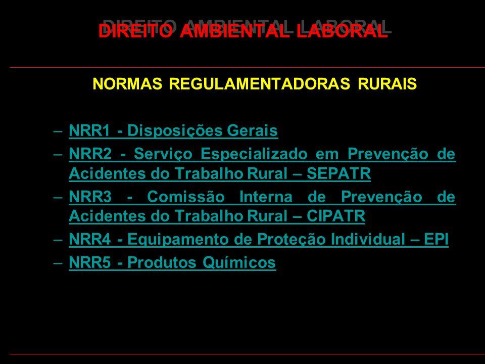 11 DIREITO AMBIENTAL LABORAL NORMAS REGULAMENTADORAS RURAIS –NRR1 - Disposições GeraisNRR1 - Disposições Gerais –NRR2 - Serviço Especializado em Prevenção de Acidentes do Trabalho Rural – SEPATRNRR2 - Serviço Especializado em Prevenção de Acidentes do Trabalho Rural – SEPATR –NRR3 - Comissão Interna de Prevenção de Acidentes do Trabalho Rural – CIPATRNRR3 - Comissão Interna de Prevenção de Acidentes do Trabalho Rural – CIPATR –NRR4 - Equipamento de Proteção Individual – EPINRR4 - Equipamento de Proteção Individual – EPI –NRR5 - Produtos QuímicosNRR5 - Produtos Químicos