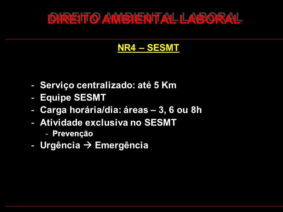 15 DIREITO AMBIENTAL LABORAL NR4 – SESMT -Serviço centralizado: até 5 Km -Equipe SESMT -Carga horária/dia: áreas – 3, 6 ou 8h -Atividade exclusiva no SESMT -Prevenção -Urgência Emergência