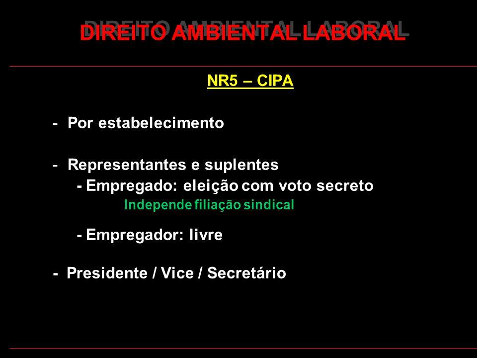 16 DIREITO AMBIENTAL LABORAL NR5 – CIPA -Por estabelecimento -Representantes e suplentes - Empregado: eleição com voto secreto Independe filiação sindical - Empregador: livre - Presidente / Vice / Secretário