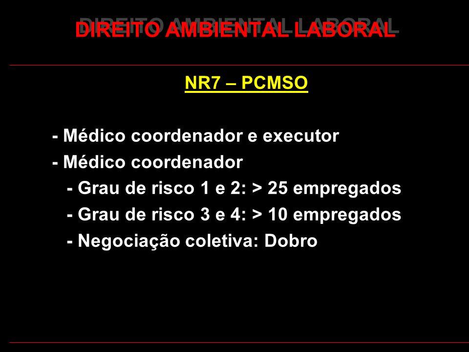 21 DIREITO AMBIENTAL LABORAL NR7 – PCMSO - Médico coordenador e executor - Médico coordenador - Grau de risco 1 e 2: > 25 empregados - Grau de risco 3 e 4: > 10 empregados - Negociação coletiva: Dobro