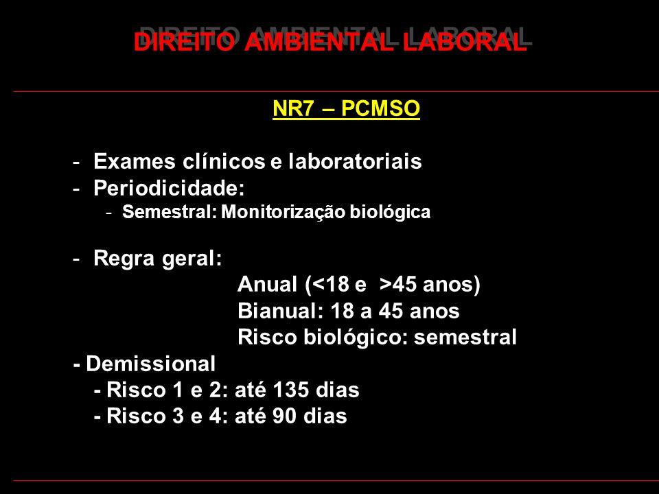 23 DIREITO AMBIENTAL LABORAL NR7 – PCMSO -Exames clínicos e laboratoriais -Periodicidade: -Semestral: Monitorização biológica -Regra geral: Anual ( 45 anos) Bianual: 18 a 45 anos Risco biológico: semestral - Demissional - Risco 1 e 2: até 135 dias - Risco 3 e 4: até 90 dias