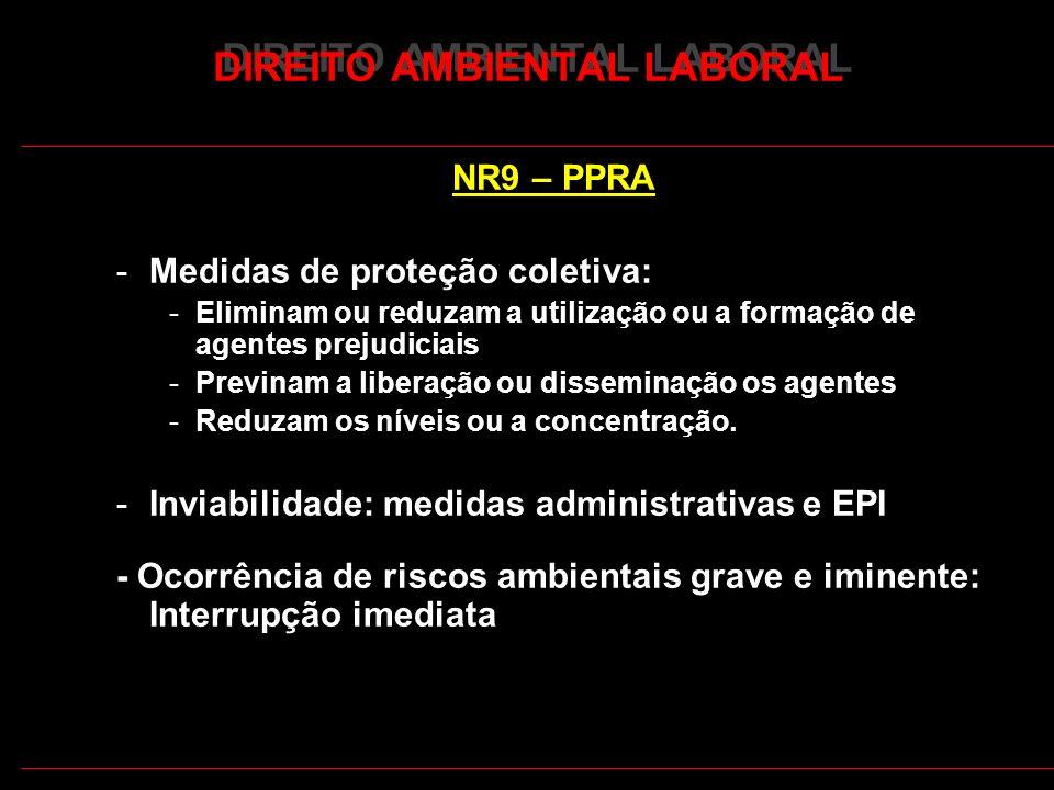 26 DIREITO AMBIENTAL LABORAL NR9 – PPRA -Medidas de proteção coletiva: -Eliminam ou reduzam a utilização ou a formação de agentes prejudiciais -Previn