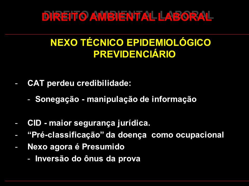 29 DIREITO AMBIENTAL LABORAL NEXO TÉCNICO EPIDEMIOLÓGICO PREVIDENCIÁRIO -CAT perdeu credibilidade: -Sonegação - manipulação de informação -CID - maior