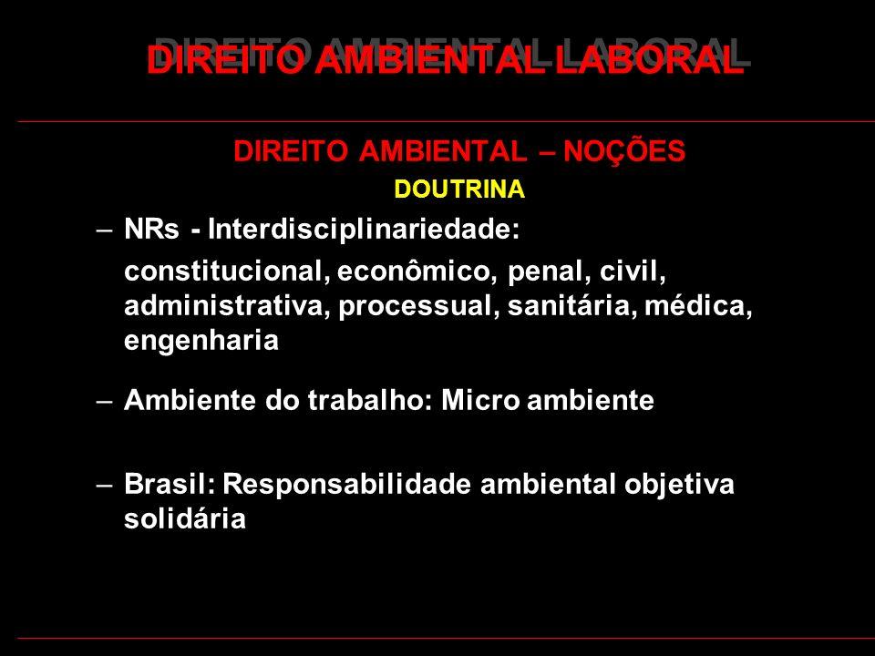 3 DIREITO AMBIENTAL LABORAL DIREITO AMBIENTAL – NOÇÕES DOUTRINA –NRs - Interdisciplinariedade: constitucional, econômico, penal, civil, administrativa
