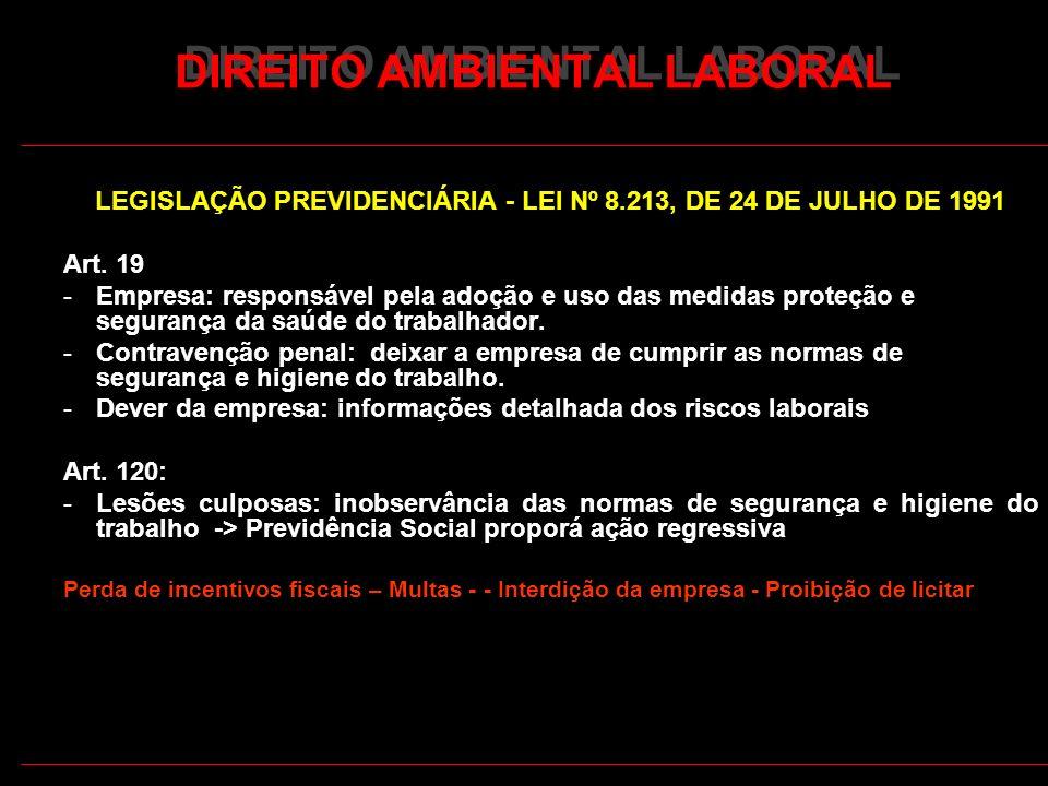 30 DIREITO AMBIENTAL LABORAL LEGISLAÇÃO PREVIDENCIÁRIA - LEI Nº 8.213, DE 24 DE JULHO DE 1991 Art. 19 -Empresa: responsável pela adoção e uso das medi