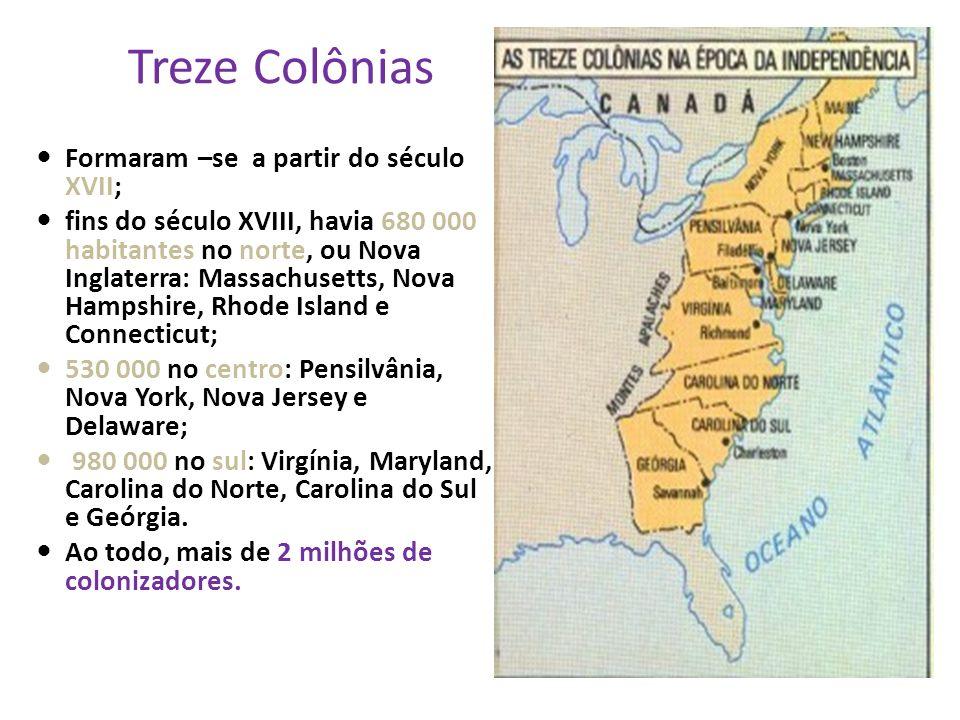 Formaram –se a partir do século XVII; fins do século XVIII, havia 680 000 habitantes no norte, ou Nova Inglaterra: Massachusetts, Nova Hampshire, Rhode Island e Connecticut; 530 000 no centro: Pensilvânia, Nova York, Nova Jersey e Delaware; 980 000 no sul: Virgínia, Maryland, Carolina do Norte, Carolina do Sul e Geórgia.