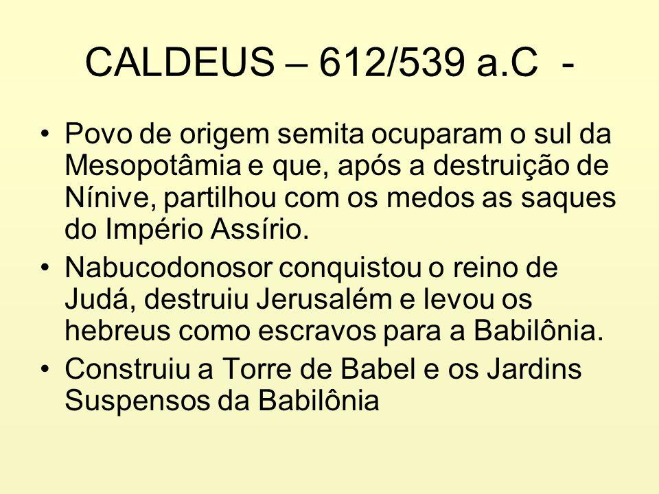 CALDEUS – 612/539 a.C - Povo de origem semita ocuparam o sul da Mesopotâmia e que, após a destruição de Nínive, partilhou com os medos as saques do Im
