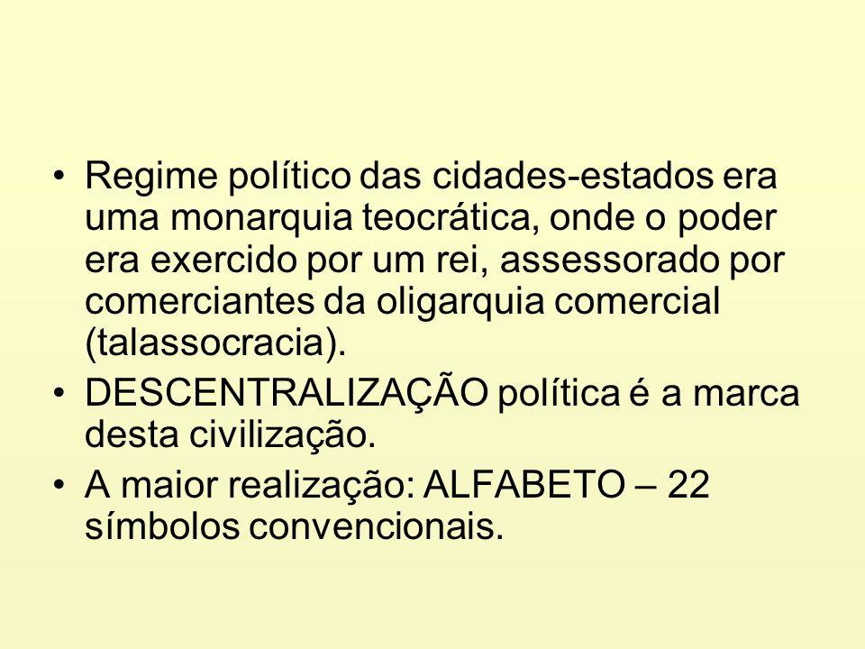 Regime político das cidades-estados era uma monarquia teocrática, onde o poder era exercido por um rei, assessorado por comerciantes da oligarquia com