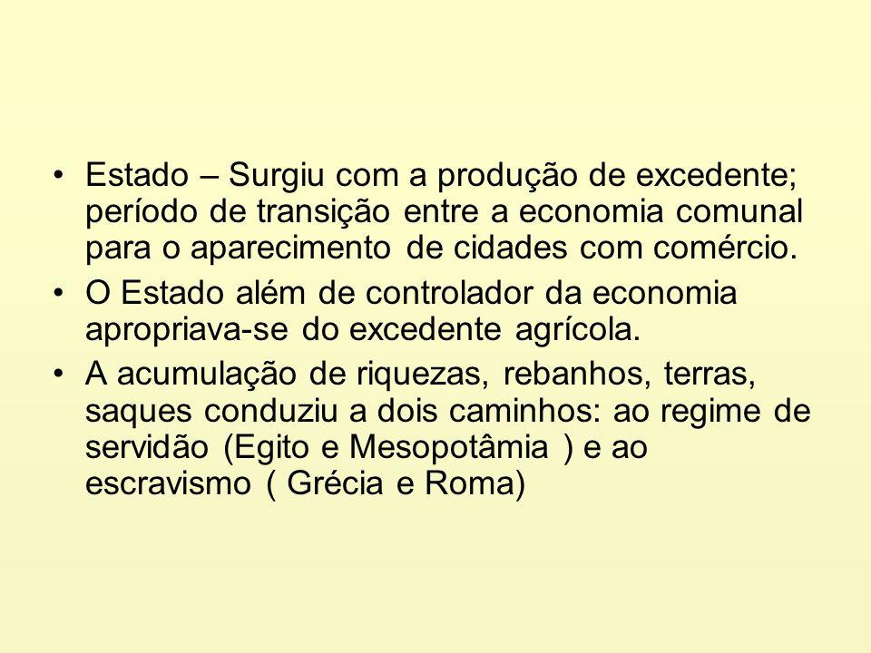 Estado – Surgiu com a produção de excedente; período de transição entre a economia comunal para o aparecimento de cidades com comércio. O Estado além