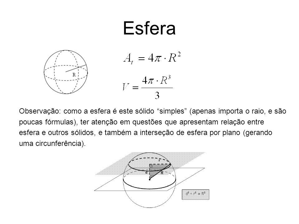 Esfera Observação: como a esfera é este sólido simples (apenas importa o raio, e são poucas fórmulas), ter atenção em questões que apresentam relação