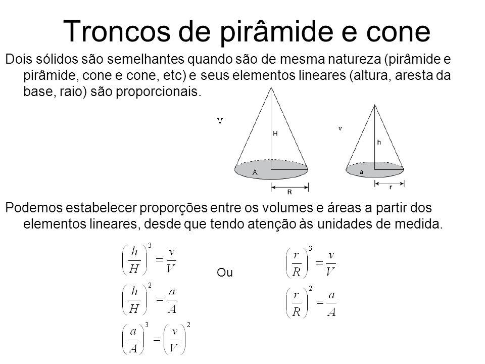 Troncos de pirâmide e cone Dois sólidos são semelhantes quando são de mesma natureza (pirâmide e pirâmide, cone e cone, etc) e seus elementos lineares