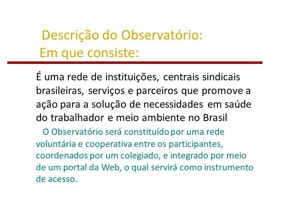 Descrição do Observatório: Em que consiste: É uma rede de instituições, centrais sindicais brasileiras, serviços e parceiros que promove a ação para a