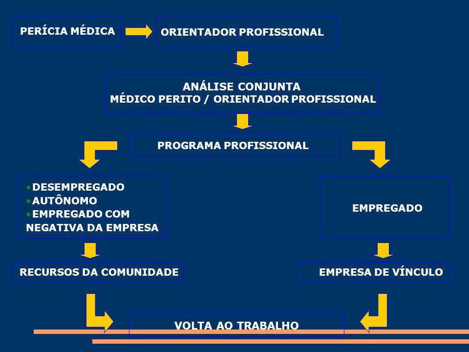 PERÍCIA MÉDICA ORIENTADOR PROFISSIONAL ANÁLISE CONJUNTA MÉDICO PERITO / ORIENTADOR PROFISSIONAL PROGRAMA PROFISSIONAL DESEMPREGADO AUTÔNOMO EMPREGADO