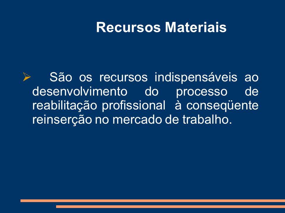 Recursos Materiais São os recursos indispensáveis ao desenvolvimento do processo de reabilitação profissional à conseqüente reinserção no mercado de t