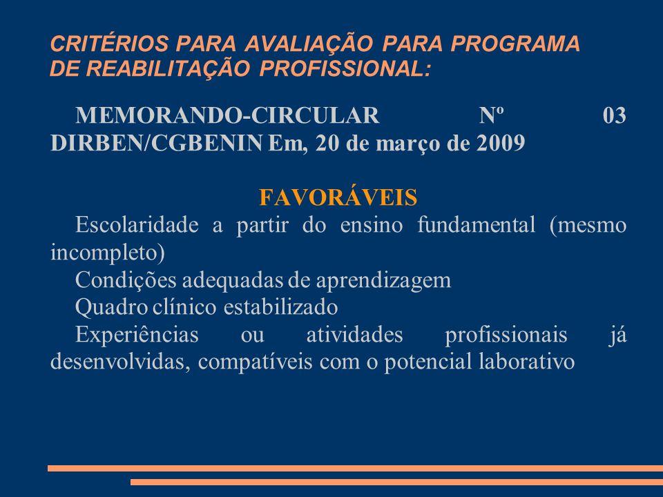 CRITÉRIOS PARA AVALIAÇÃO PARA PROGRAMA DE REABILITAÇÃO PROFISSIONAL: MEMORANDO-CIRCULAR Nº 03 DIRBEN/CGBENIN Em, 20 de março de 2009 FAVORÁVEIS Escola