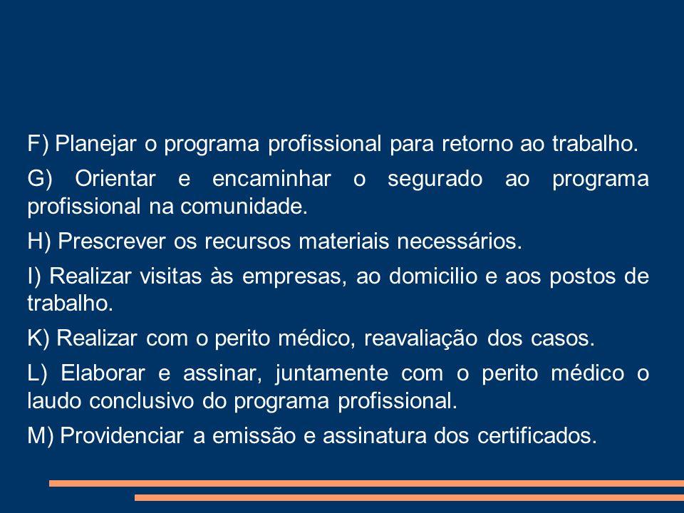 F) Planejar o programa profissional para retorno ao trabalho. G) Orientar e encaminhar o segurado ao programa profissional na comunidade. H) Prescreve