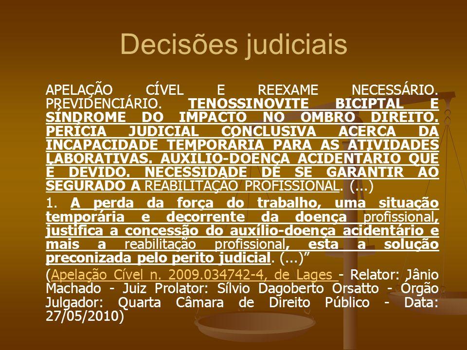 Decisões judiciais APELAÇÃO CÍVEL E REEXAME NECESSÁRIO. PREVIDENCIÁRIO. TENOSSINOVITE BICIPTAL E SÍNDROME DO IMPACTO NO OMBRO DIREITO. PERÍCIA JUDICIA
