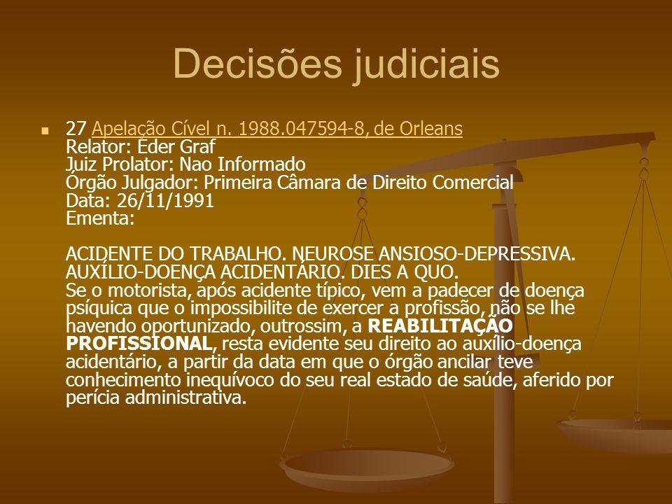 Decisões judiciais 27 Apelação Cível n. 1988.047594-8, de Orleans Relator: Eder Graf Juiz Prolator: Nao Informado Órgão Julgador: Primeira Câmara de D