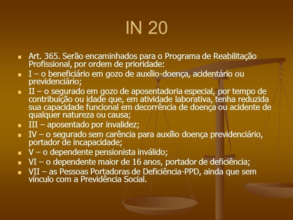 IN 20 Art. 365. Serão encaminhados para o Programa de Reabilitação Profissional, por ordem de prioridade: I – o beneficiário em gozo de auxílio-doença
