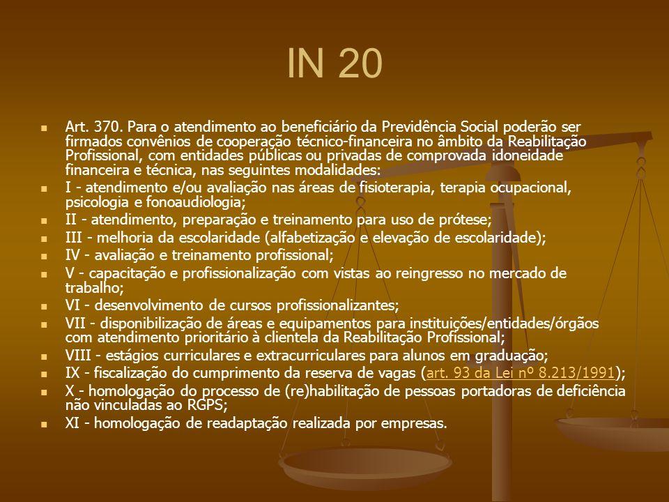 IN 20 Art. 370. Para o atendimento ao beneficiário da Previdência Social poderão ser firmados convênios de cooperação técnico-financeira no âmbito da