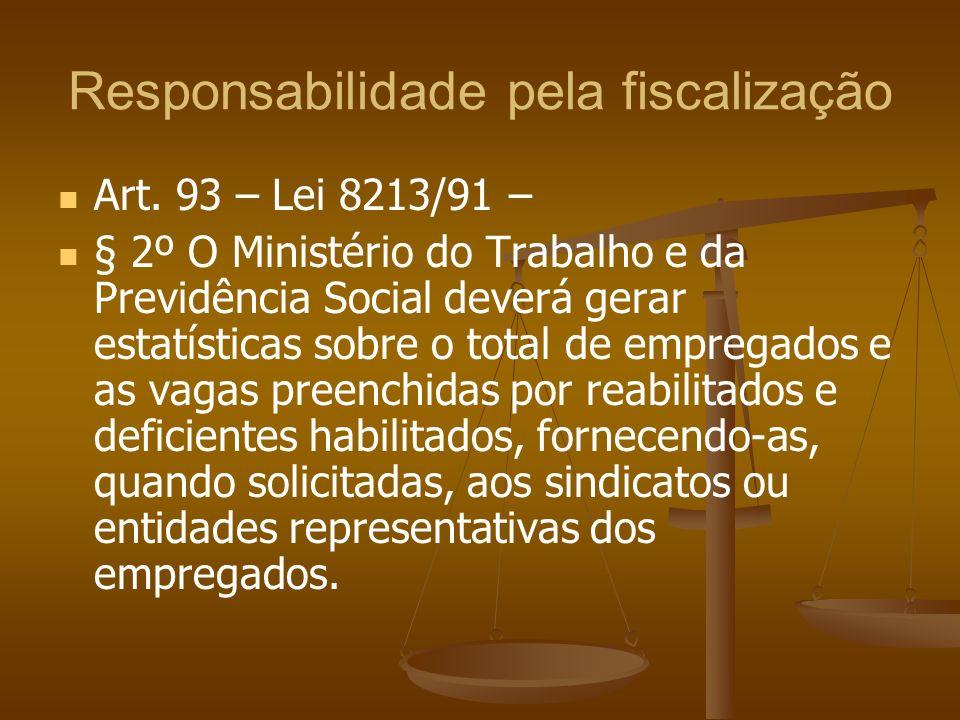 Responsabilidade pela fiscalização Art. 93 – Lei 8213/91 – § 2º O Ministério do Trabalho e da Previdência Social deverá gerar estatísticas sobre o tot