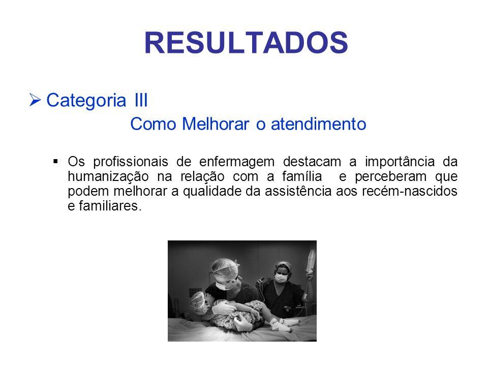RESULTADOS Categoria III Como Melhorar o atendimento Os profissionais de enfermagem destacam a importância da humanização na relação com a família e p