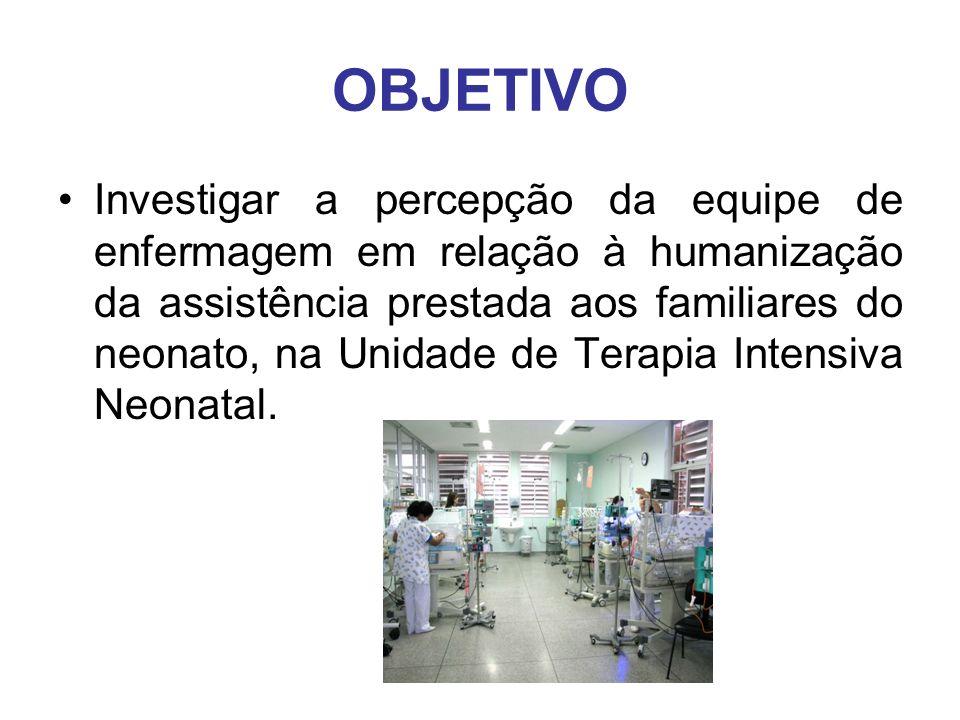 OBJETIVO Investigar a percepção da equipe de enfermagem em relação à humanização da assistência prestada aos familiares do neonato, na Unidade de Tera