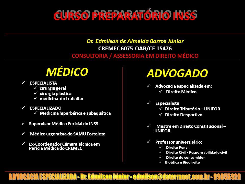 1 CURSO PREPARATÓRIO INSS MÉDICO ESPECIALISTA cirurgia geral cirurgia plástica medicina do trabalho ESPECIALIZADO Medicina hiperbárica e subaquática S