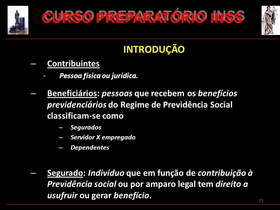 15 INTRODUÇÃO – Contribuintes -Pessoa física ou jurídica. – Beneficiários: pessoas que recebem os benefícios previdenciários do Regime de Previdência