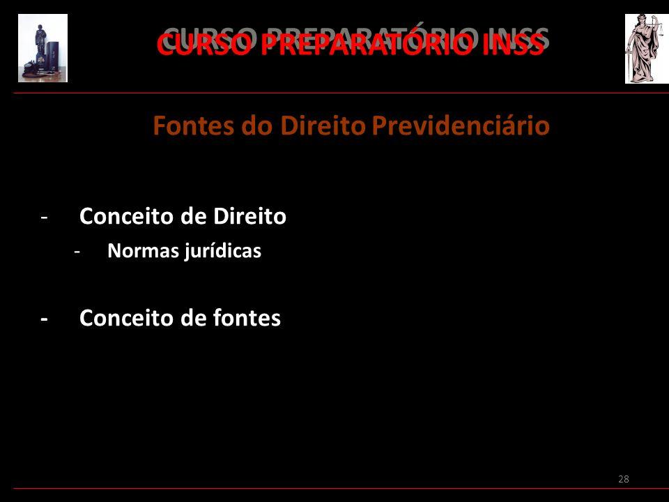 28 CURSO PREPARATÓRIO INSS Fontes do Direito Previdenciário -Conceito de Direito -Normas jurídicas - Conceito de fontes