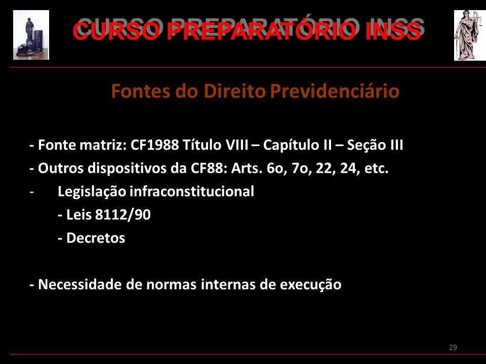 29 Fontes do Direito Previdenciário - Fonte matriz: CF1988 Título VIII – Capítulo II – Seção III - Outros dispositivos da CF88: Arts. 6o, 7o, 22, 24,