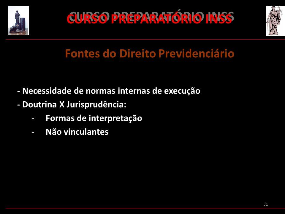 31 CURSO PREPARATÓRIO INSS Fontes do Direito Previdenciário - Necessidade de normas internas de execução - Doutrina X Jurisprudência: -Formas de inter