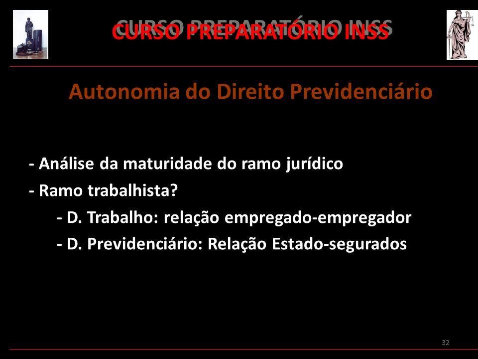 32 CURSO PREPARATÓRIO INSS Autonomia do Direito Previdenciário - Análise da maturidade do ramo jurídico - Ramo trabalhista? - D. Trabalho: relação emp