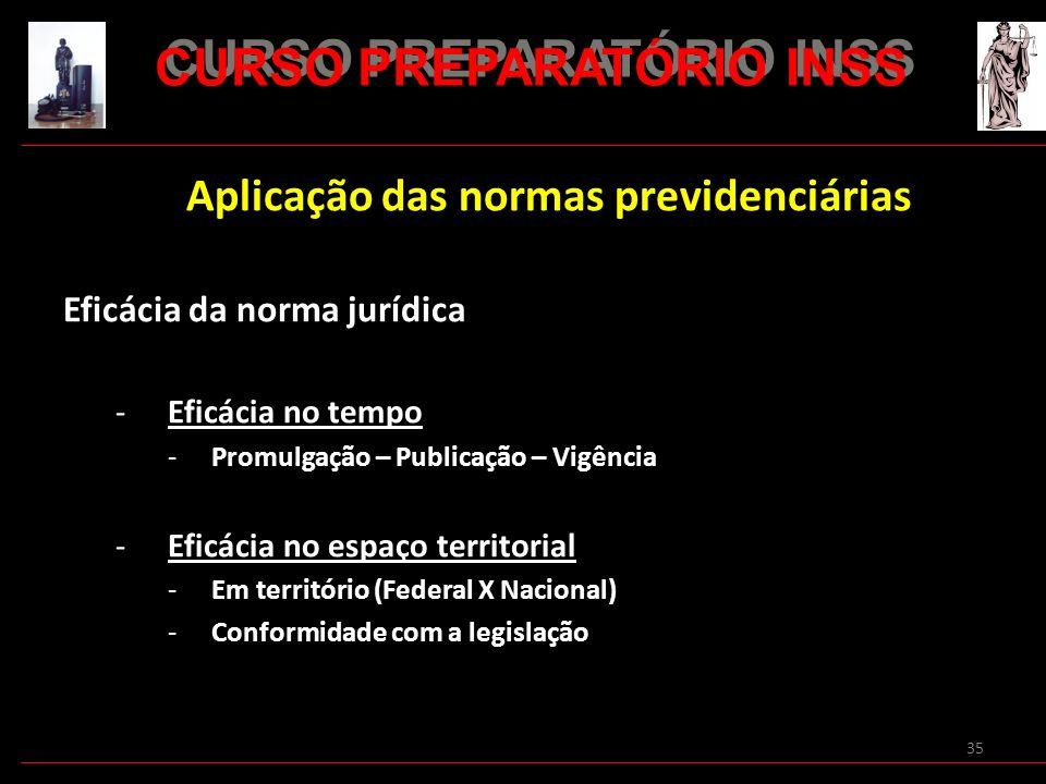 35 Aplicação das normas previdenciárias Eficácia da norma jurídica -Eficácia no tempo -Promulgação – Publicação – Vigência -Eficácia no espaço territo