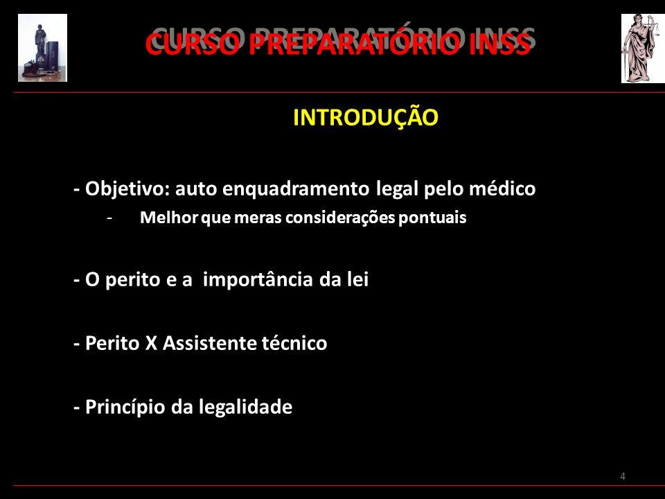 4 INTRODUÇÃO - Objetivo: auto enquadramento legal pelo médico -Melhor que meras considerações pontuais - O perito e a importância da lei - Perito X As