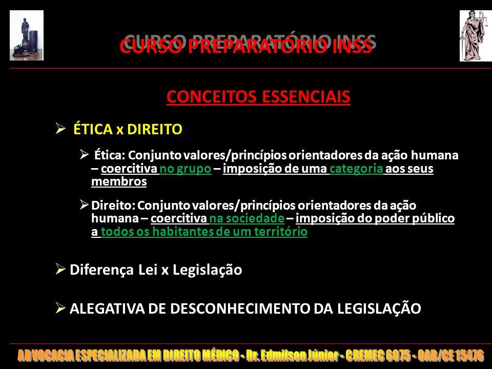 5 CONCEITOS ESSENCIAIS ÉTICA x DIREITO Ética: Conjunto valores/princípios orientadores da ação humana – coercitiva no grupo – imposição de uma categor