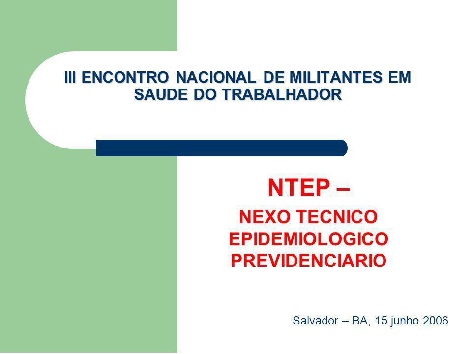 32/60 NTEP - PRINCÍPIO ÚNICO: CONCESSÃO DE BENEFÍCIO E TRIBUTAÇÃO Faz-se o estabelecimento do NTEP entre agrupamento CID e CNAE_classe, a partir do estimador de riscos Razão de Chances (RC) > 1, com 99% de confiança estatística.