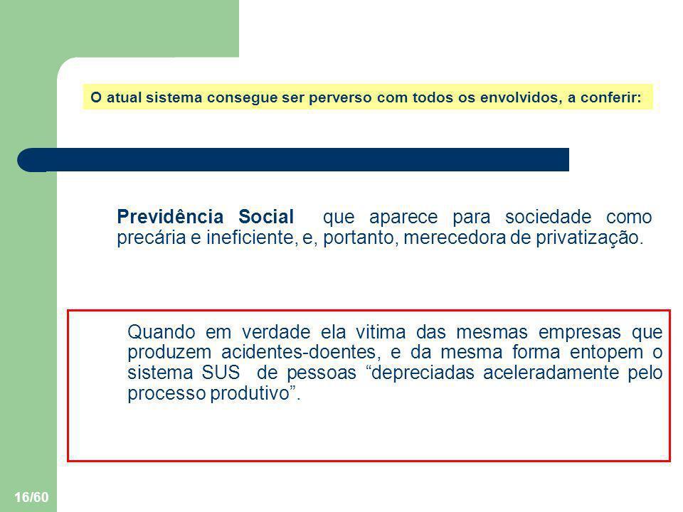 16/60 Previdência Social que aparece para sociedade como precária e ineficiente, e, portanto, merecedora de privatização. O atual sistema consegue ser